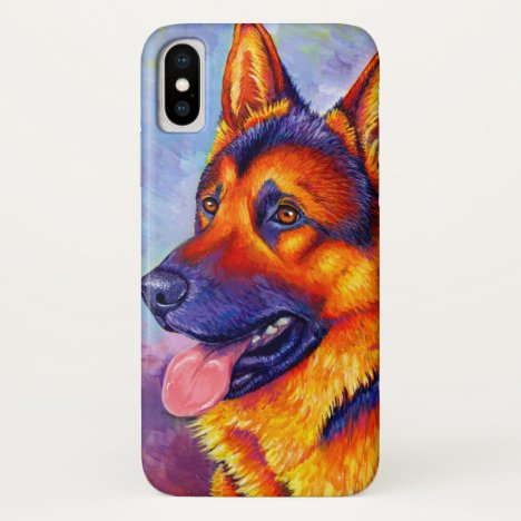 Colorful German Shepherd Dog Cell Phone Case