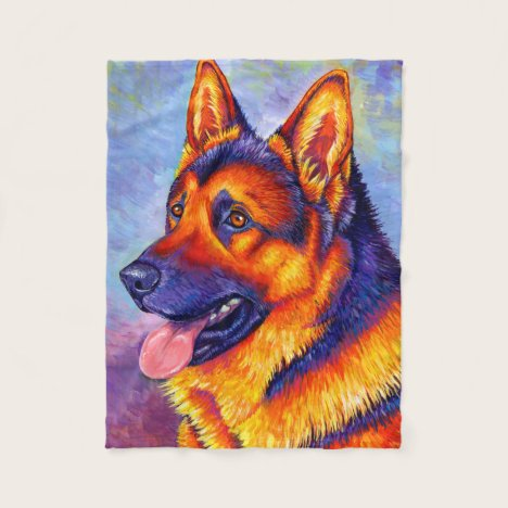Colorful German Shepherd Dog Fleece Blanket