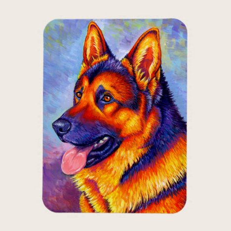 Colorful German Shepherd Dog Flexible Magnet