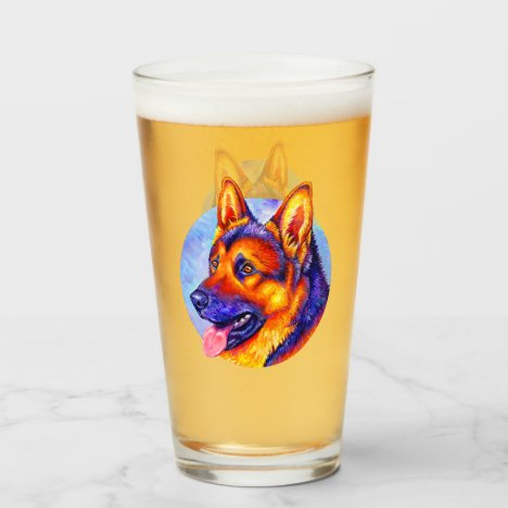 Colorful German Shepherd Dog Glass Cup