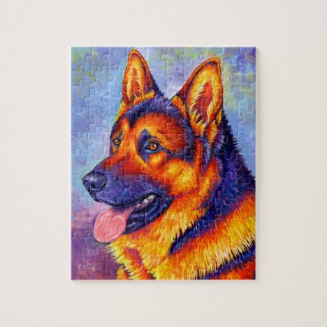 Colorful German Shepherd Dog Jigsaw Puzzle
