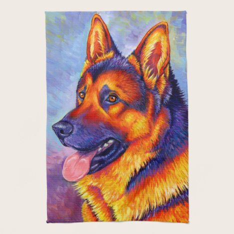 Colorful German Shepherd Dog Kitchen Towels