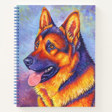 Colorful German Shepherd Dog Spiral Notebook