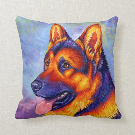 Colorful German Shepherd Dog Throw Pillow