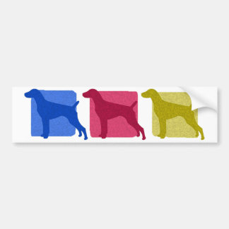 Colorful German Shorthaired Pointer Silhouettes Car Bumper Sticker