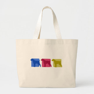 Colorful German Wirehaired Pointer Silhouettes Large Tote Bag