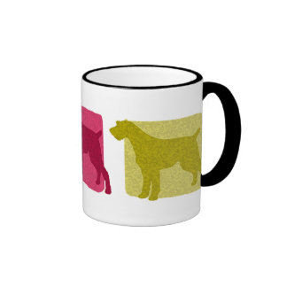 Colorful German Wirehaired Pointer Silhouettes Coffee Mugs