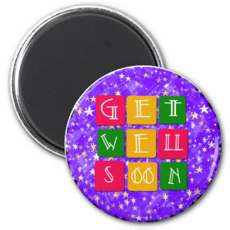 Colorful Get Well Soon 2 Inch Round Magnet