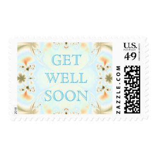 """Colorful """"Get Well Soon"""" Abstract Postage"""
