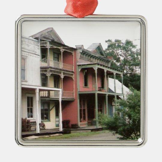 Colorful Ghost Town Buildings Metal Ornament
