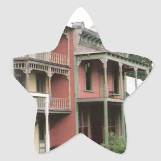 Colorful Ghost Town Buildings Star Sticker