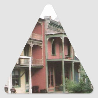 Colorful Ghost Town Buildings Triangle Sticker