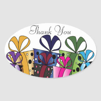 Colorful Gift Presents   Customize Oval Sticker