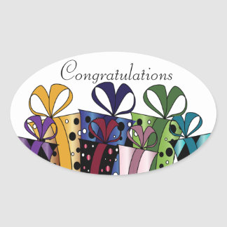 Colorful Gift Presents | Customize Oval Sticker