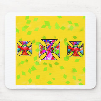 Colorful gifts are inside the iron cross mouse pad