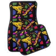 Colorful Giraffe Art Abstract Car Mat