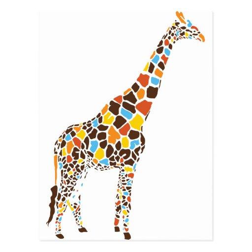 Colorful Giraffe Postcard
