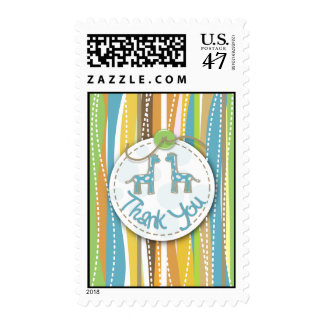 Colorful giraffe tree thank you postage