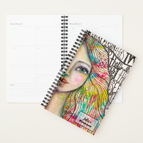 Colorful Girl Artsy Jester Black White Whimsical Planner