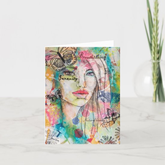 Colorful Girl Butterflies Fun Whimsical Art Note Card