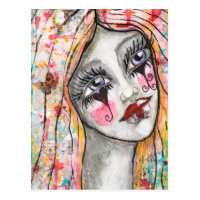Colorful Girl Clown Heart Abstract Whimsical Art Postcard