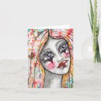 Colorful Girl Clown Heart Cute Whimsical Art Note Card