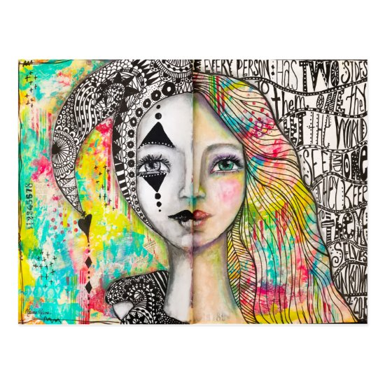 Colorful Girl Jester Black White Fun Whimsical Art Postcard
