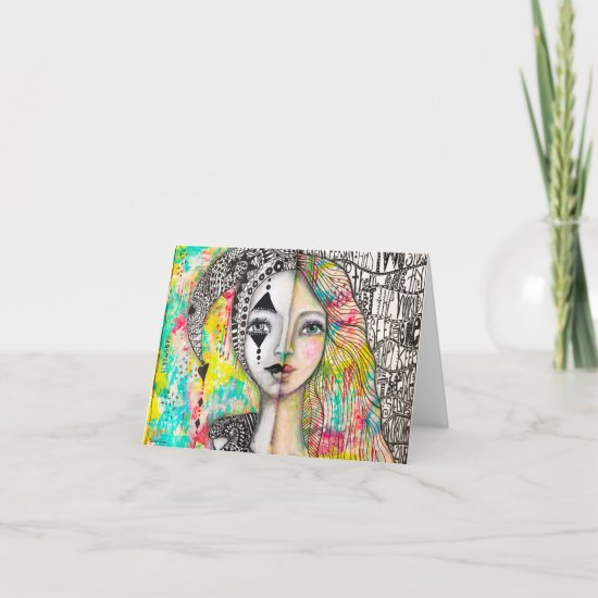 Colorful Girl Jester Cool Artsy Whimsical Art Note Card