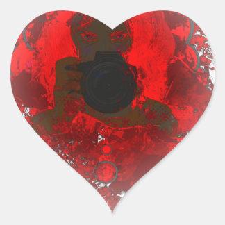 Colorful girl photographer illustration 2 heart sticker