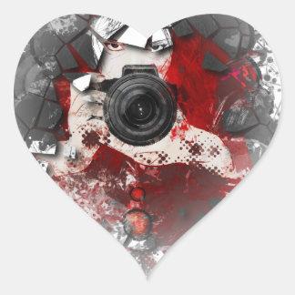 Colorful girl photographer illustration 3 heart sticker