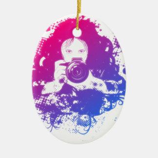Colorful girl photographer illustration ceramic ornament