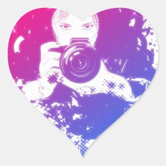 Colorful girl photographer illustration heart sticker