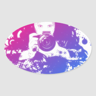 Colorful girl photographer illustration oval sticker