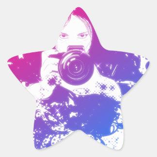 Colorful girl photographer illustration star sticker