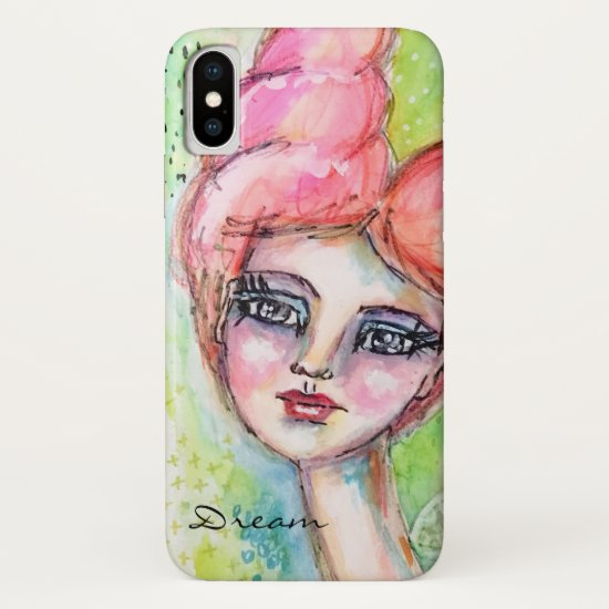 Colorful Girl Watercolor Fairy Artistic Portrait iPhone X Case