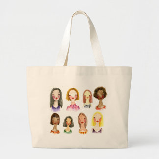 Colorful Girls Large Tote Bag