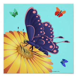 Colorful, girl's room, butterfly poster
