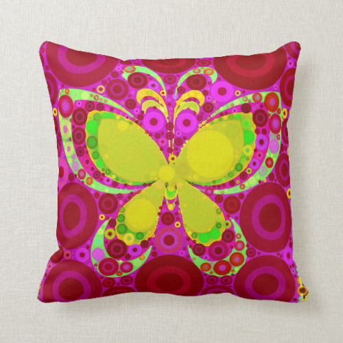 Colorful Girly Butterfly Circle Mosaic Pink Yellow Pillow