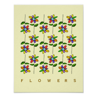 colorful girly flowers poster
