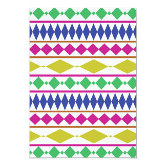 Colorful Girly Geometric Trial Pattern 5x7 Paper Invitation Card