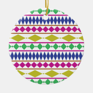 Colorful Girly Geometric Trial Pattern Ceramic Ornament