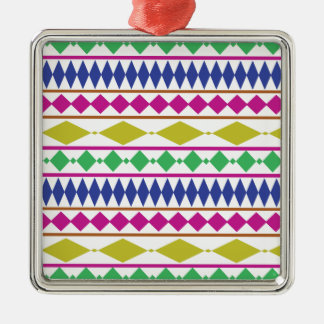 Colorful Girly Geometric Trial Pattern Metal Ornament