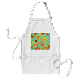 Colorful Girly Groovy Peace Floral Print Apron