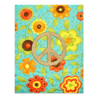 Colorful Girly Groovy Peace Floral Print Card