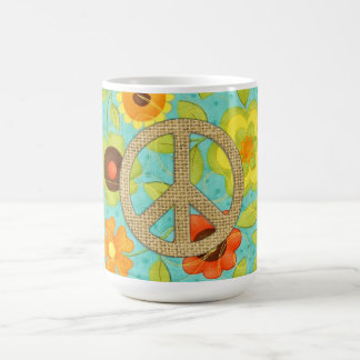 Colorful Girly Groovy Peace Floral Print Coffee Mug