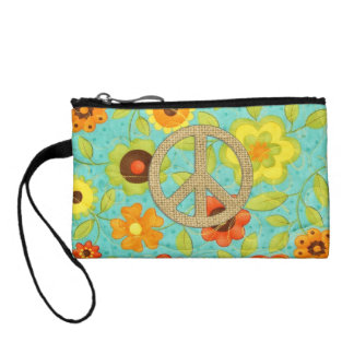 Colorful Girly Groovy Peace Floral Print Coin Purse