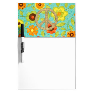 Colorful Girly Groovy Peace Floral Print Dry Erase Board