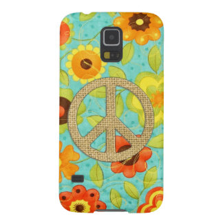 Colorful Girly Groovy Peace Floral Print Galaxy S5 Case