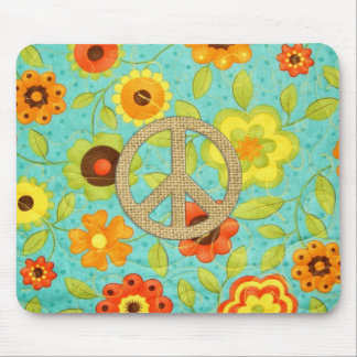 Colorful Girly Groovy Peace Floral Print Mouse Pad