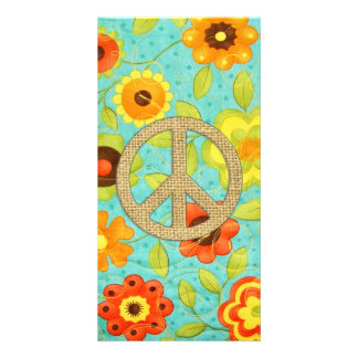 Colorful Girly Groovy Peace Floral Print Custom Photo Card